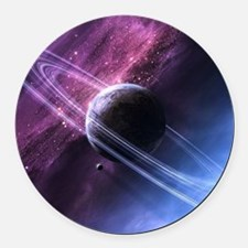 Planet Ring System Round Car Magnet