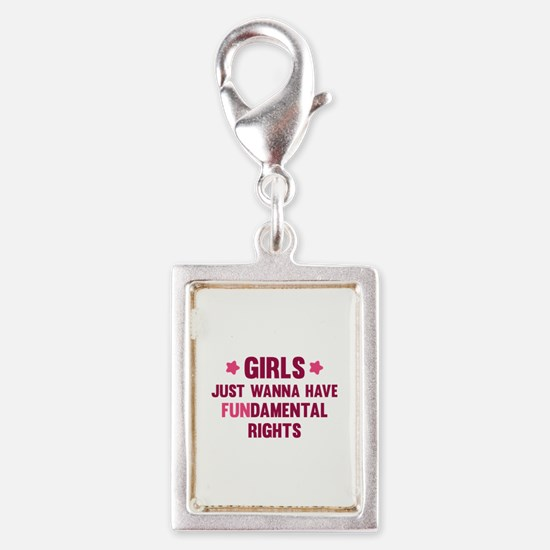 Girls Just Wanna Have Fun Silver Portrait Charm