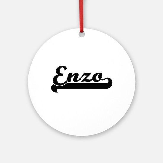 Enzo Classic Retro Name Design Ornament (Round)