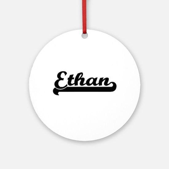 Ethan Classic Retro Name Design Ornament (Round)