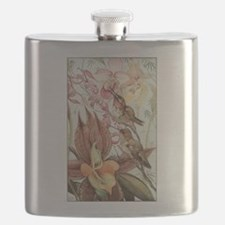 Vintage Hummingbirds and Orchids Flask