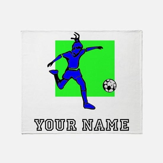 Blue Soccer Player (Custom) Throw Blanket