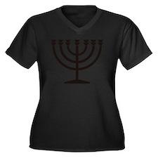 Menorah Women's Plus Size V-Neck Dark T-Shirt