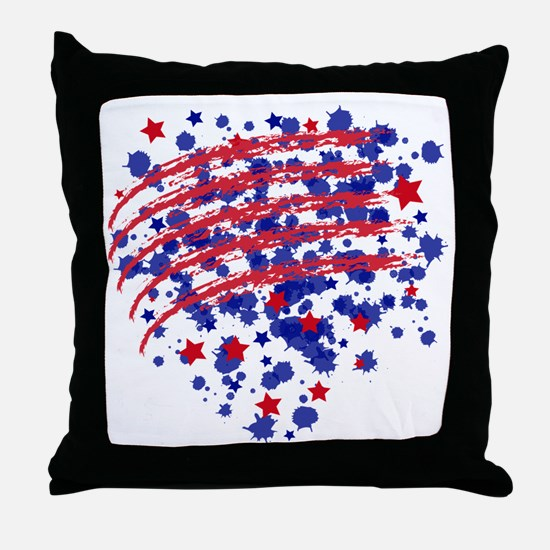 US flagheart Throw Pillow