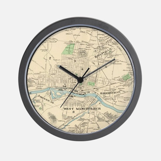 Vintage Map of Manchester NH (1892) Wall Clock