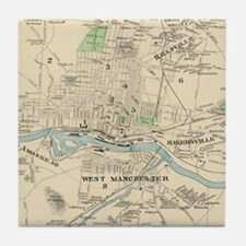 Vintage Map of Manchester NH (1892) Tile Coaster