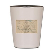 Vintage Map of Manchester NH (1892) Shot Glass