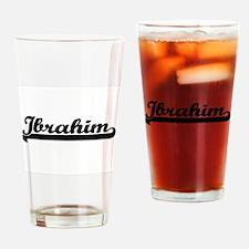 Ibrahim Classic Retro Name Design Drinking Glass