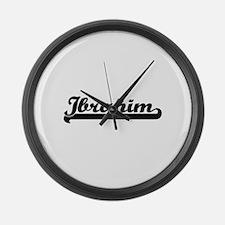 Ibrahim Classic Retro Name Design Large Wall Clock