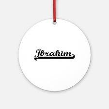 Ibrahim Classic Retro Name Design Ornament (Round)