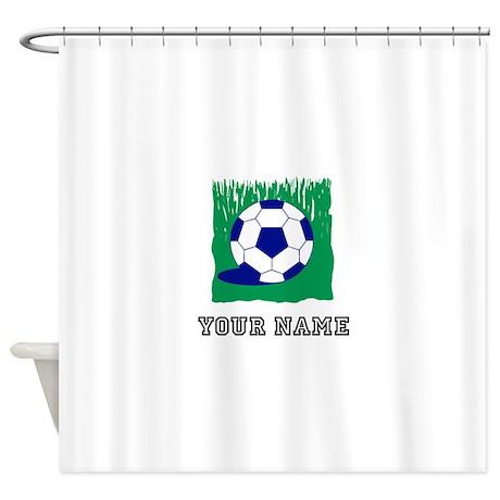 Soccer Ball In Grass (Custom) Shower Curtain