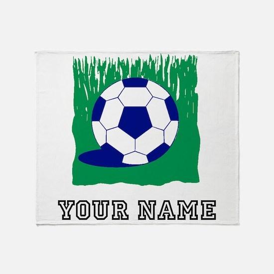Soccer Ball In Grass (Custom) Throw Blanket