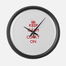 Keep Calm and Curry ON Large Wall Clock