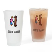 Golf Ball Behind Tree (Add Name) Drinking Glass