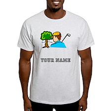 Golf Ball Hitting Tree (Add Name) T-Shirt