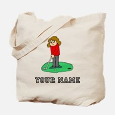 Girl Golfing (Add Name) Tote Bag