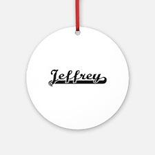 Jeffrey Classic Retro Name Design Ornament (Round)