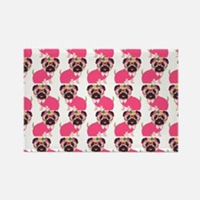 Pug in Pink Rectangle Magnet (10 pack)