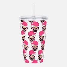 Pug in Pink Acrylic Double-wall Tumbler