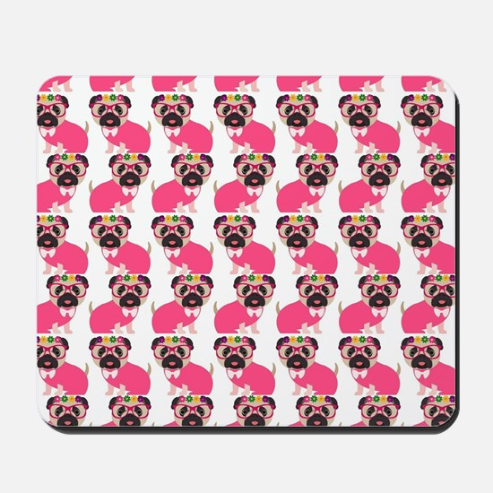 Pug in Pink Mousepad