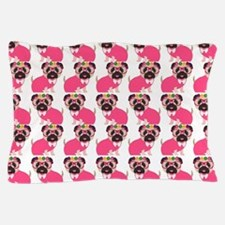 Pug in Pink Pillow Case