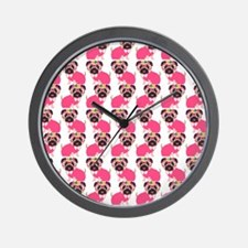 Pug in Pink Wall Clock