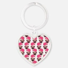 Pug in Pink Heart Keychain