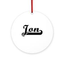 Jon Classic Retro Name Design Ornament (Round)