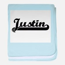 Justin Classic Retro Name Design baby blanket