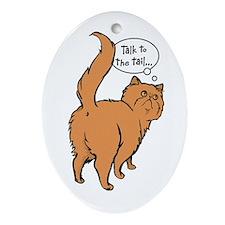 Red Persian Tail Talk Oval Ornament