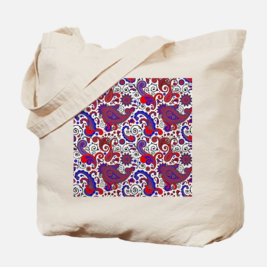 Red, white and blue paisley Tote Bag