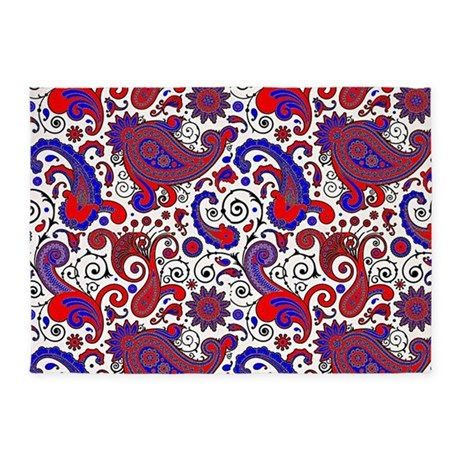 Red, White And Blue Paisley 5u0027x7u0027Area Rug