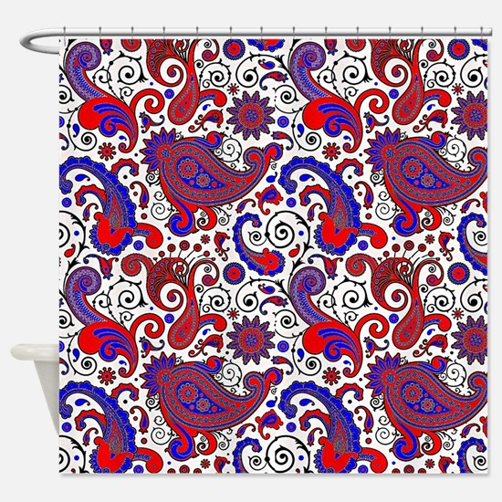 red and blue shower curtain. Red  white and blue paisley Shower Curtain White Blue Curtains CafePress