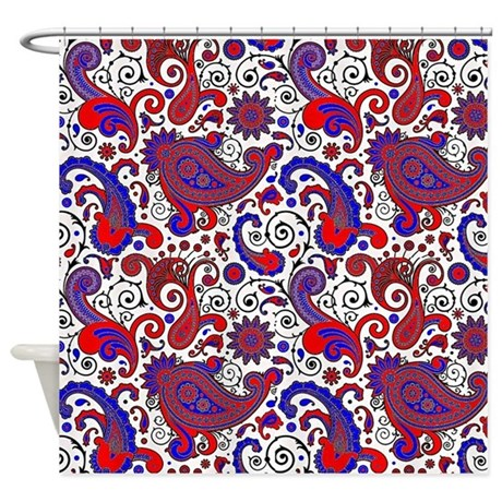 Red, White And Blue Paisley Shower Curtain