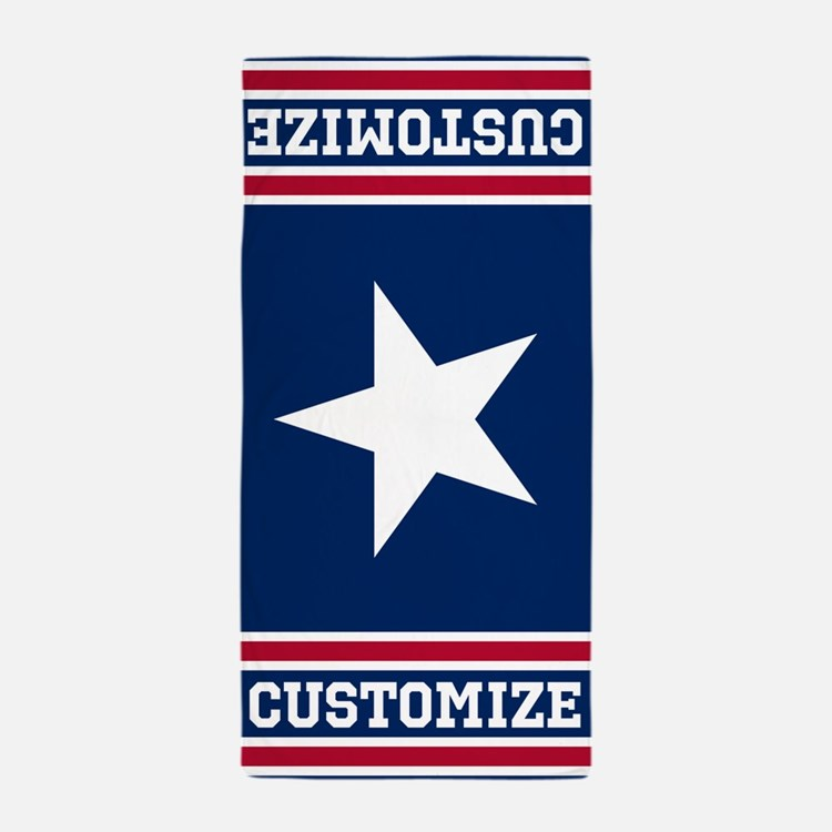 Customized Patriotic Red White and Blue Flag Beach