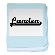 Landen Classic Retro Name Design baby blanket