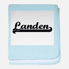 Landen Classic Retro Name Design baby blanket