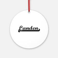 Landen Classic Retro Name Design Ornament (Round)