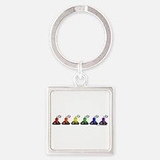 Rainbow Kisses Square Keychain