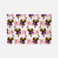 Gay Pride Pugs in Yellow Glasses Rectangle Magnet