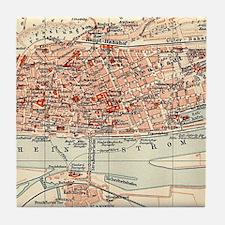 Vintage Map of Mainz Germany (1905) Tile Coaster