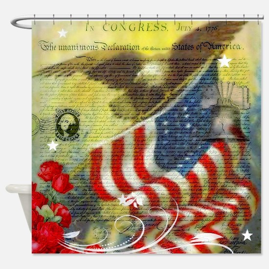 Vintage patriotic theme Shower Curtain