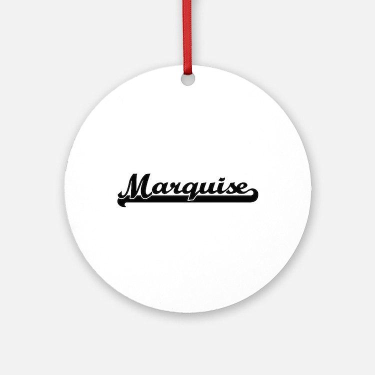 Marquise Classic Retro Name Desig Ornament (Round)