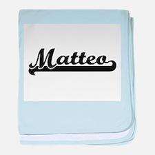 Matteo Classic Retro Name Design baby blanket
