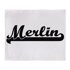 Merlin Classic Retro Name Design Throw Blanket