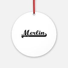 Merlin Classic Retro Name Design Ornament (Round)