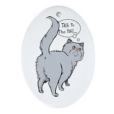 Blue Persian Tail Talk Oval Ornament