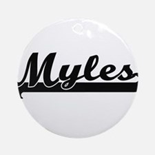 Myles Classic Retro Name Design Ornament (Round)