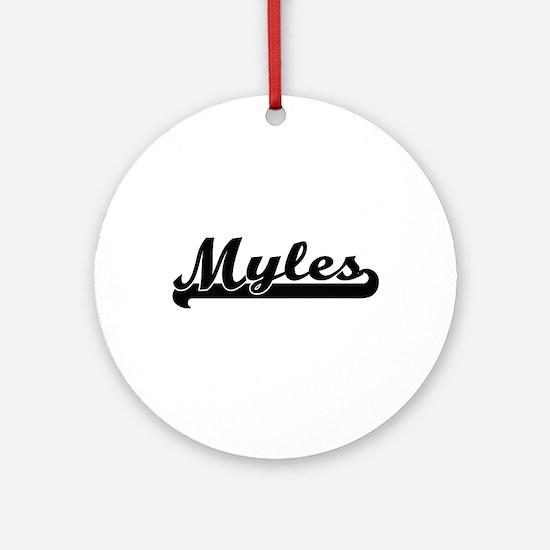 Myles Classic Retro Name Design Ornament (Round)