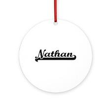 Nathan Classic Retro Name Design Ornament (Round)